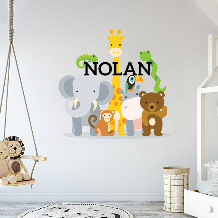 Custom Name Friendly Animals Wall Decal