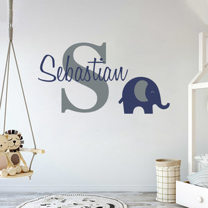 Personalized Name & Initial Elephant Animal Series