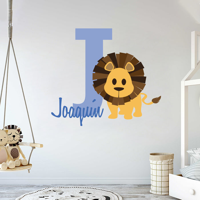 Personalized Name & Initial Lion Jungle Series and Hearts