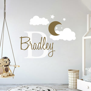Custom Name & Initial Moon on Cloudy Night Wall Decal