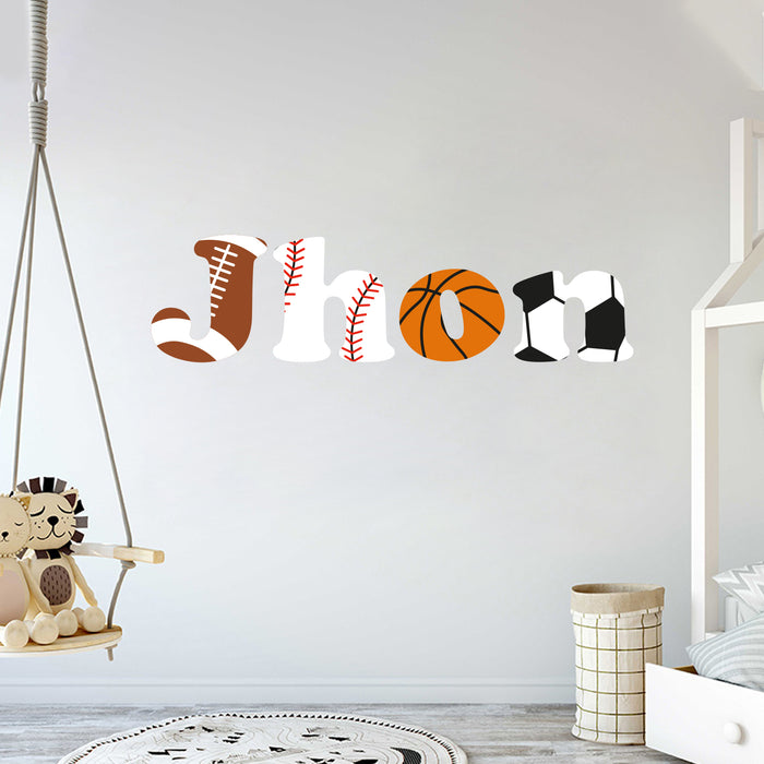 Custom Name Sport Teams Balls Wall Decal