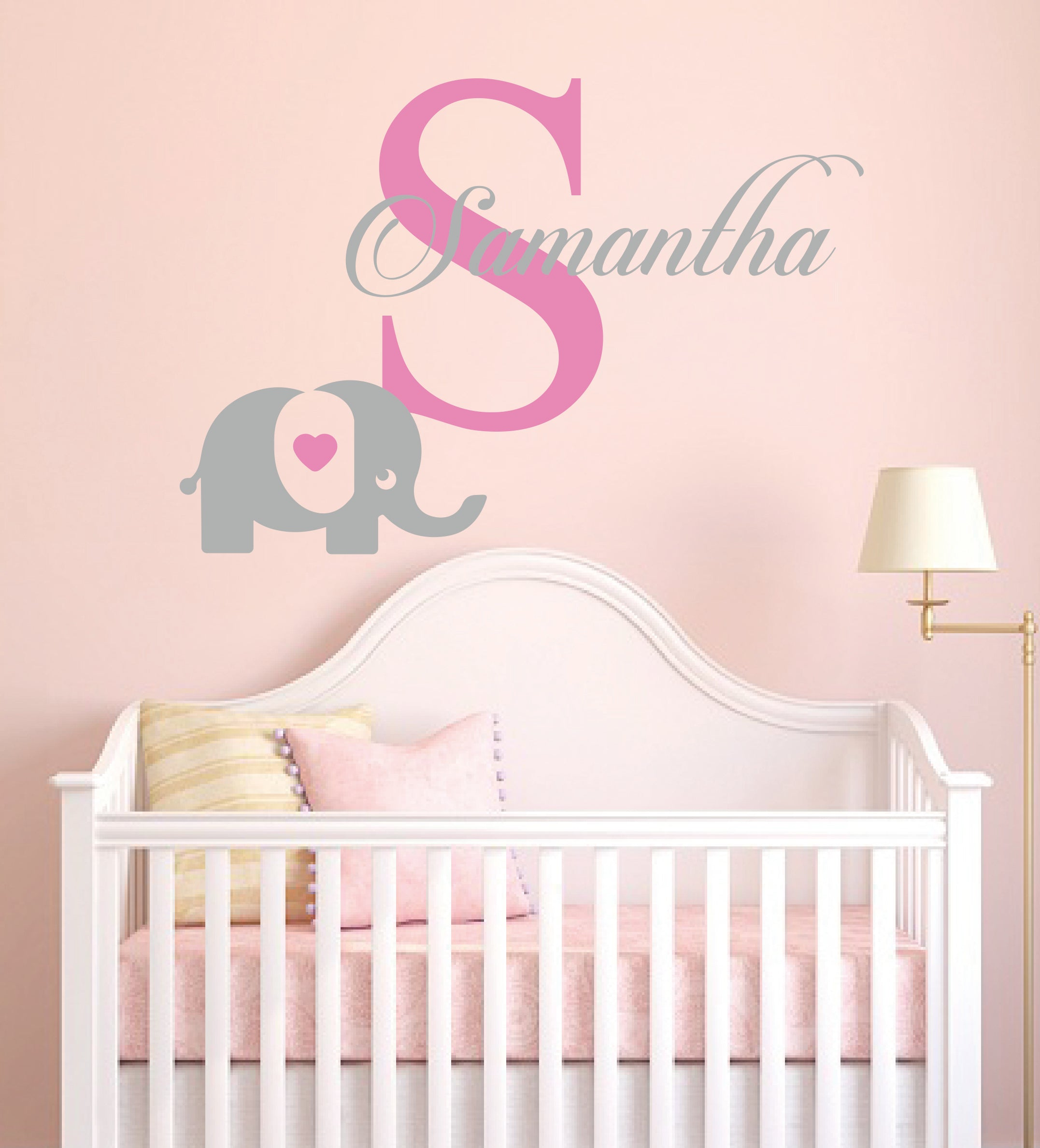 Personalized Name Elephant & Initial - Baby Girl - Wall Decal Nursery For Home Bedroom Children(MM30)