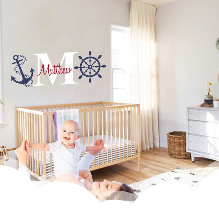 Custom Name & Initial Nautical Theme Wall Decal