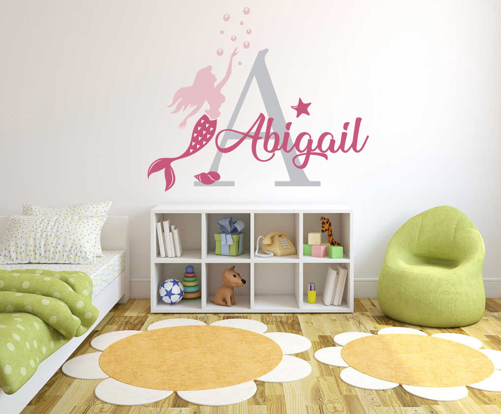 Custom Name & Initial Mermaid Bubbles & Star - Baby Girl - Wall Decal Nursery For Home Bedroom Children (R74)