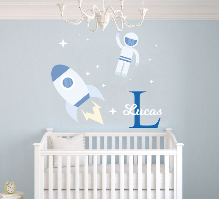 Custom Name & Initial Astronaut with Spaceship Wall Decal