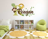 Custom Name & Initial Monkey & Giraffe Wall Decal