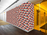 Colored Boxes in Geometric Wallpaper  (R92)