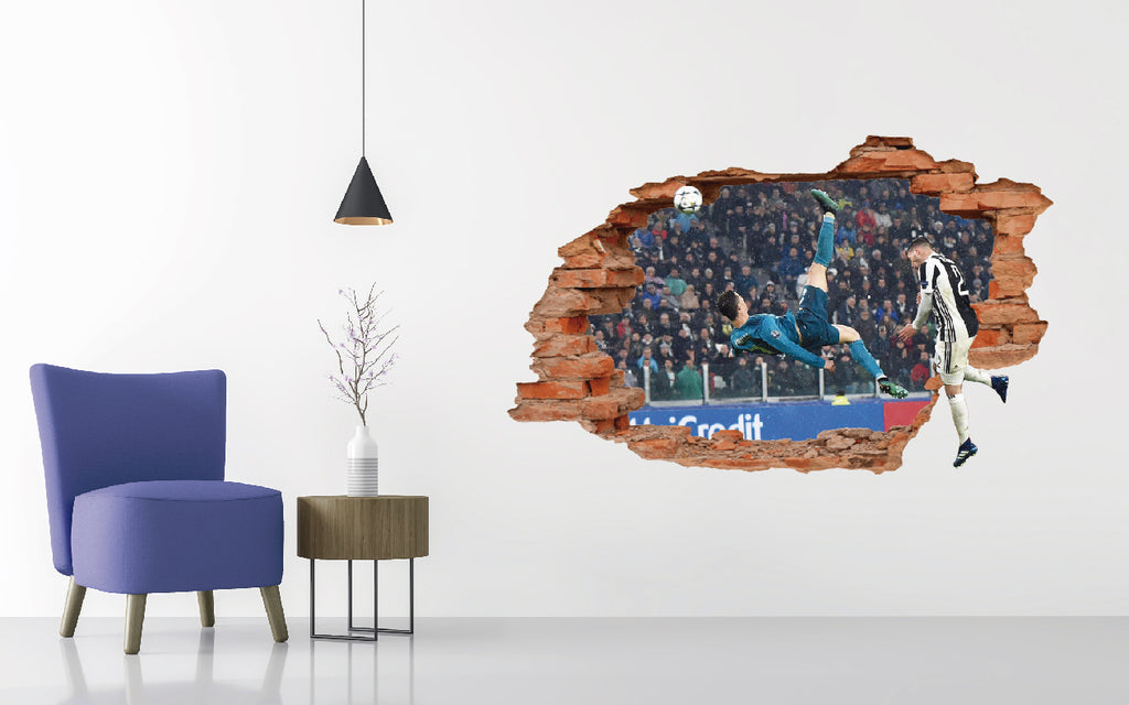 CR7 Best Goal Ever - Real Madrid Team Smashed 3D Effect - Soccer Santander League Wall Decal Vinyl