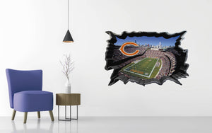 Chicago Bears - Football Stadium 3D Effect - Brake Wall Effect 3D - Wall Decal For Rooms And Living Room