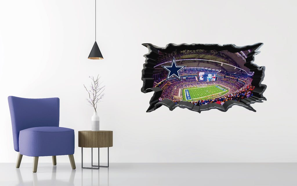 Dallas Cowboys Stadium - Football Stadium 3D Effect - Brake Wall Effect 3D - Wall Decal For Rooms And Living Room