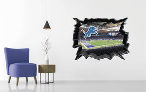 Detroit Lions Stadium - Football Stadium 3D Effect - Brake Wall Effect 3D - Wall Decal For Rooms And Living Room