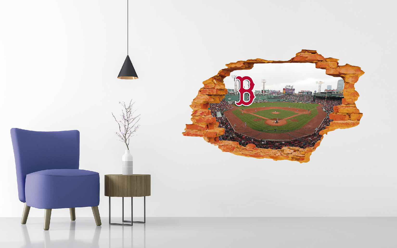 Boston Red Sox Stadium - Baseball Stadium 3D Effect - Brake Wall Effect 3D - Wall Decal For Rooms And Living Room