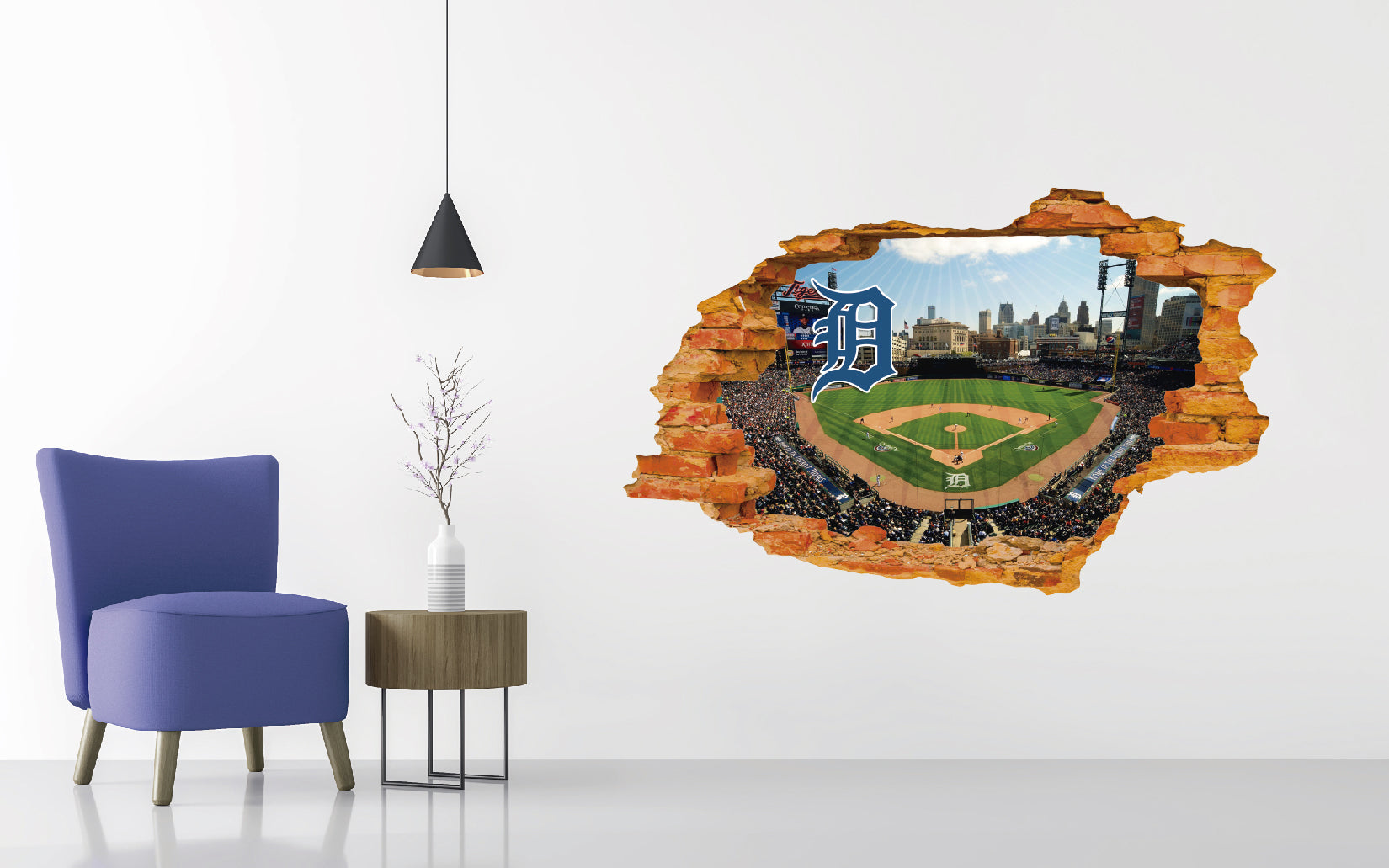 Detroit Tigers Stadium - Baseball Stadium 3D Effect - Brake Wall Effect 3D - Wall Decal For Rooms And Living Room