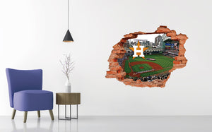 Houston Astros Stadium - Baseball Stadium 3D Effect - Brake Wall Effect 3D - Wall Decal For Rooms And Living Room