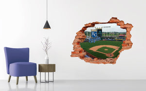 Kansas City Royals Stadium - Baseball Stadium 3D Effect - Brake Wall Effect 3D - Wall Decal For Rooms And Living Room