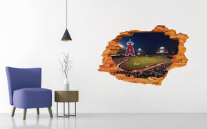 Los Angeles Angels Of Anaheim Stadium - Baseball Stadium 3D Effect - Brake Wall Effect 3D - Wall Decal For Rooms And Living Room
