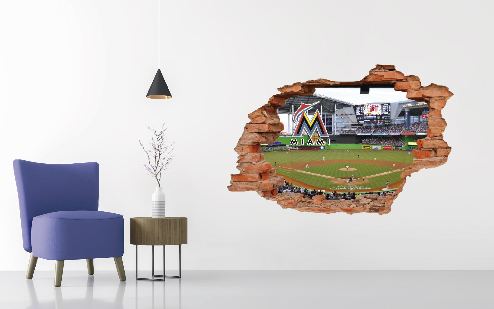 Miami Marlins Stadium - Baseball Stadium 3D Effect - Brake Wall Effect 3D - Wall Decal For Rooms And Living Room