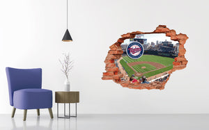 Minnesota Twins Stadium - Baseball Stadium 3D Effect - Brake Wall Effect 3D - Wall Decal For Rooms And Living Room