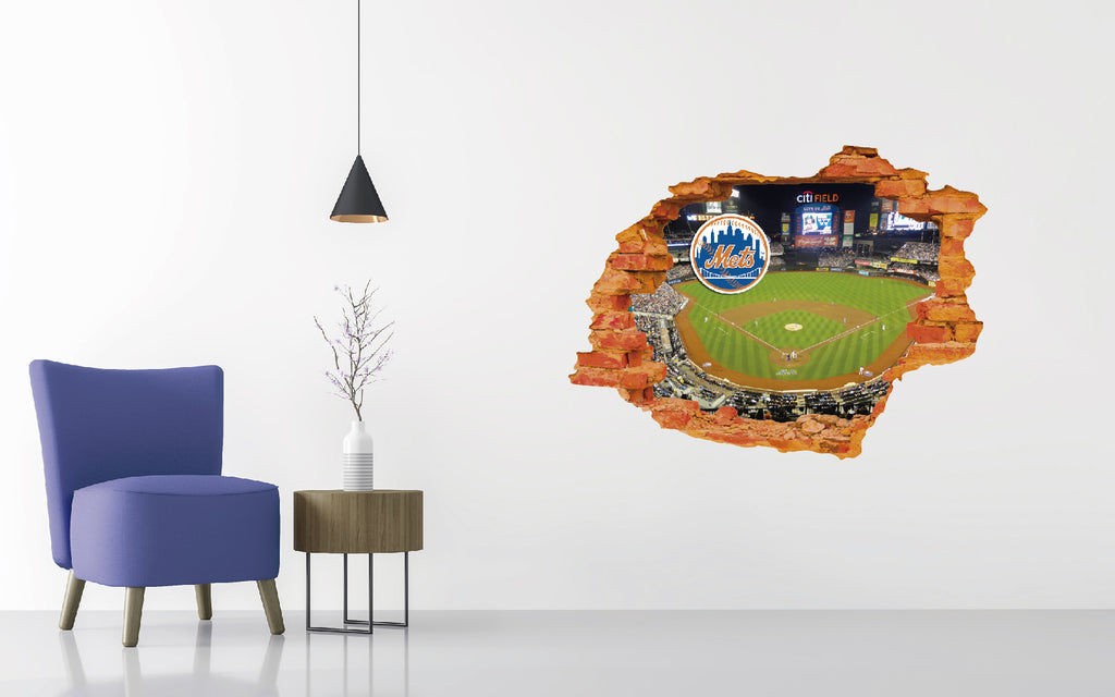 New York Mets Stadium - Baseball Stadium 3D Effect - Brake Wall Effect 3D - Wall Decal For Rooms And Living Room