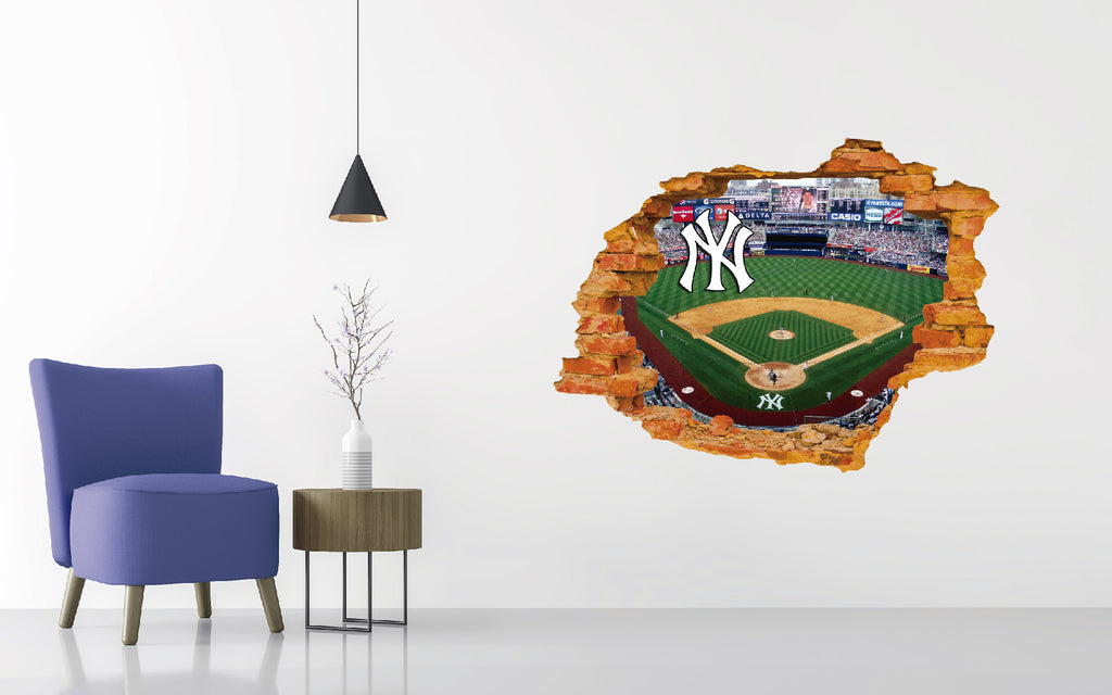 New York Yankees Stadium - Baseball Stadium 3D Effect - Brake Wall Effect 3D - Wall Decal For Rooms And Living Room