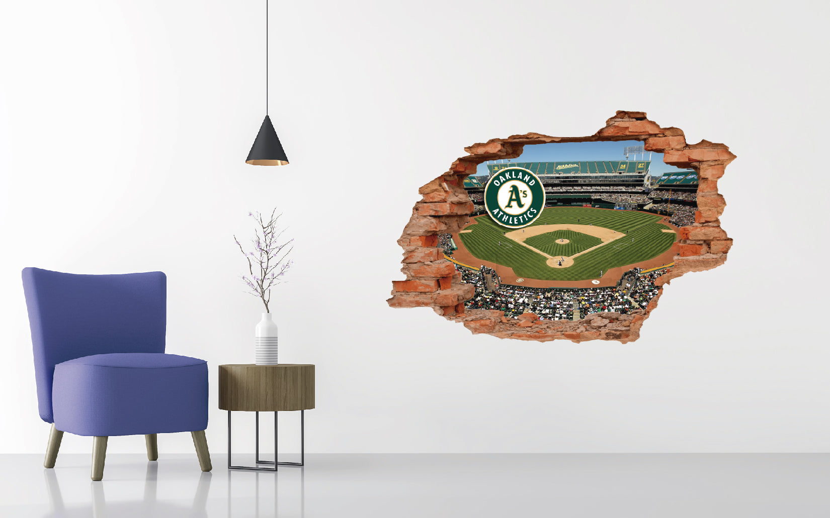 Oakland Athletics Stadium - Baseball Stadium 3D Effect - Brake Wall Effect 3D - Wall Decal For Rooms And Living Room