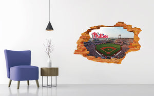 Philadelphia Phillies Stadium - Baseball Stadium 3D Effect - Brake Wall Effect 3D - Wall Decal For Rooms And Living Room