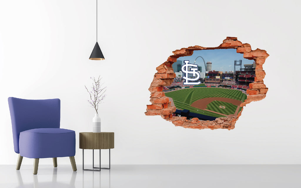 Saint Louis Cardinals Stadium - Baseball Stadium 3D Effect - Brake Wall Effect 3D - Wall Decal For Rooms And Living Room