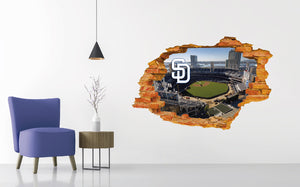 San Diego Padres Stadium - Baseball Stadium 3D Effect - Brake Wall Effect 3D - Wall Decal For Rooms And Living Room