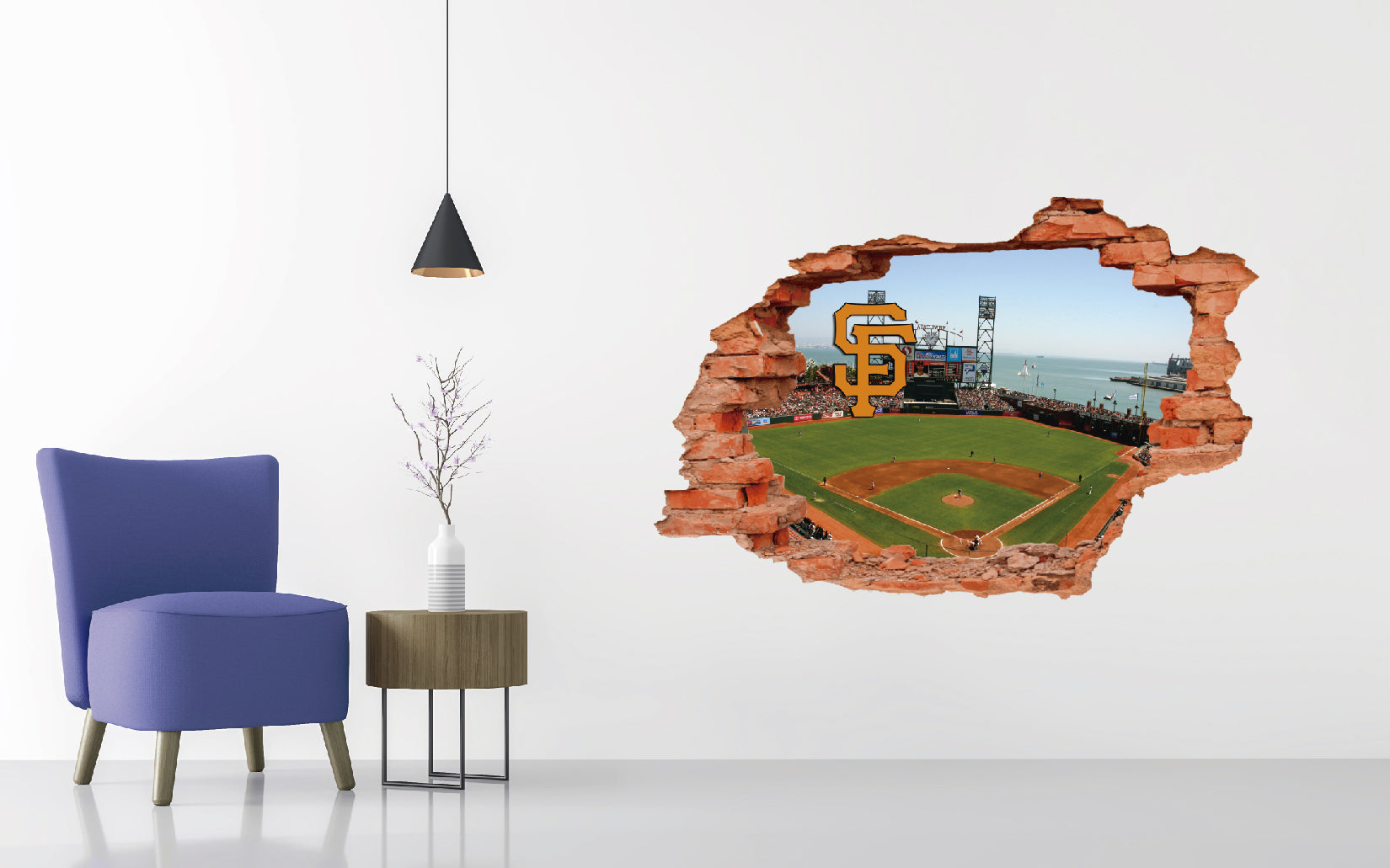 San Francisco Giants Stadium - Baseball Stadium 3D Effect - Brake Wall Effect 3D - Wall Decal For Rooms And Living Room