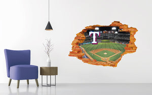 Texas Rangers Stadium - Baseball Stadium 3D Effect - Brake Wall Effect 3D - Wall Decal For Rooms And Living Room