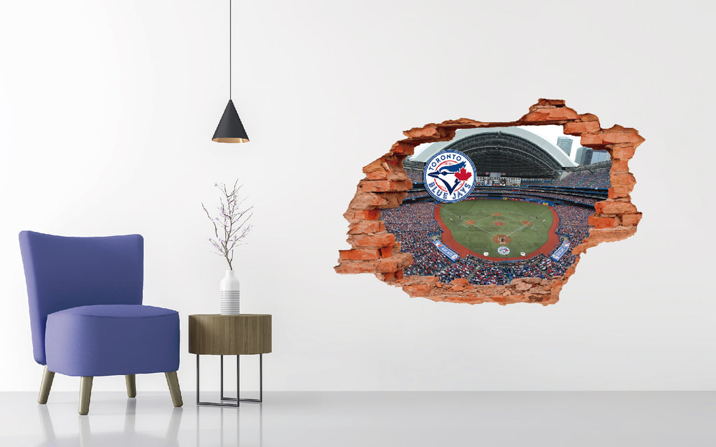 Toronto Blue Jays Stadium - Baseball Stadium 3D Effect - Brake Wall Effect 3D - Wall Decal For Rooms And Living Room