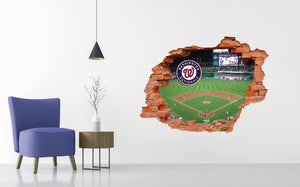 Washington Nationals Stadium - Baseball Stadium 3D Effect - Brake Wall Effect 3D - Wall Decal For Rooms And Living Room