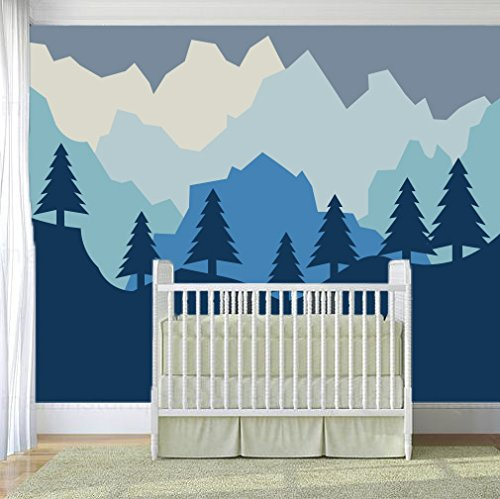 Forest and Mountains Silhouette Wall Decal