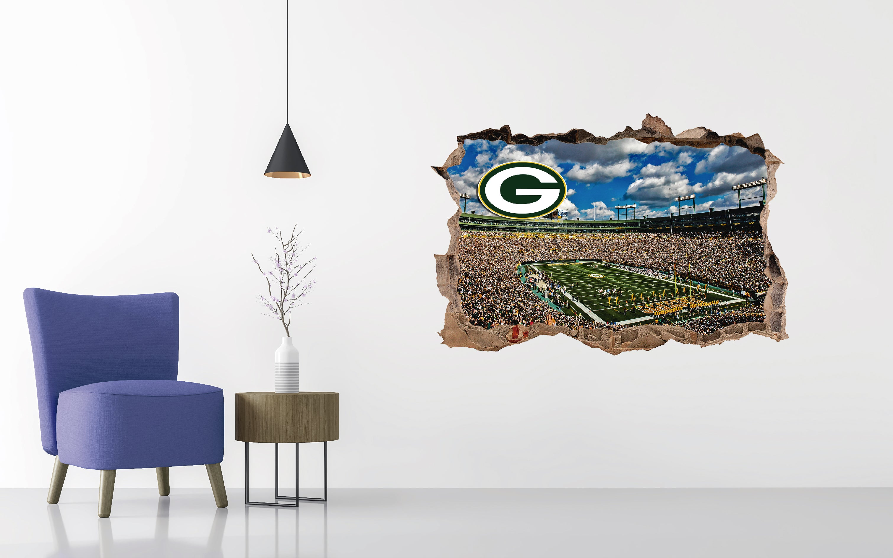 Green Bay Packers  Stadium - Football Stadium 3D Effect - Brake Wall Effect 3D - Wall Decal For Rooms And Living Room