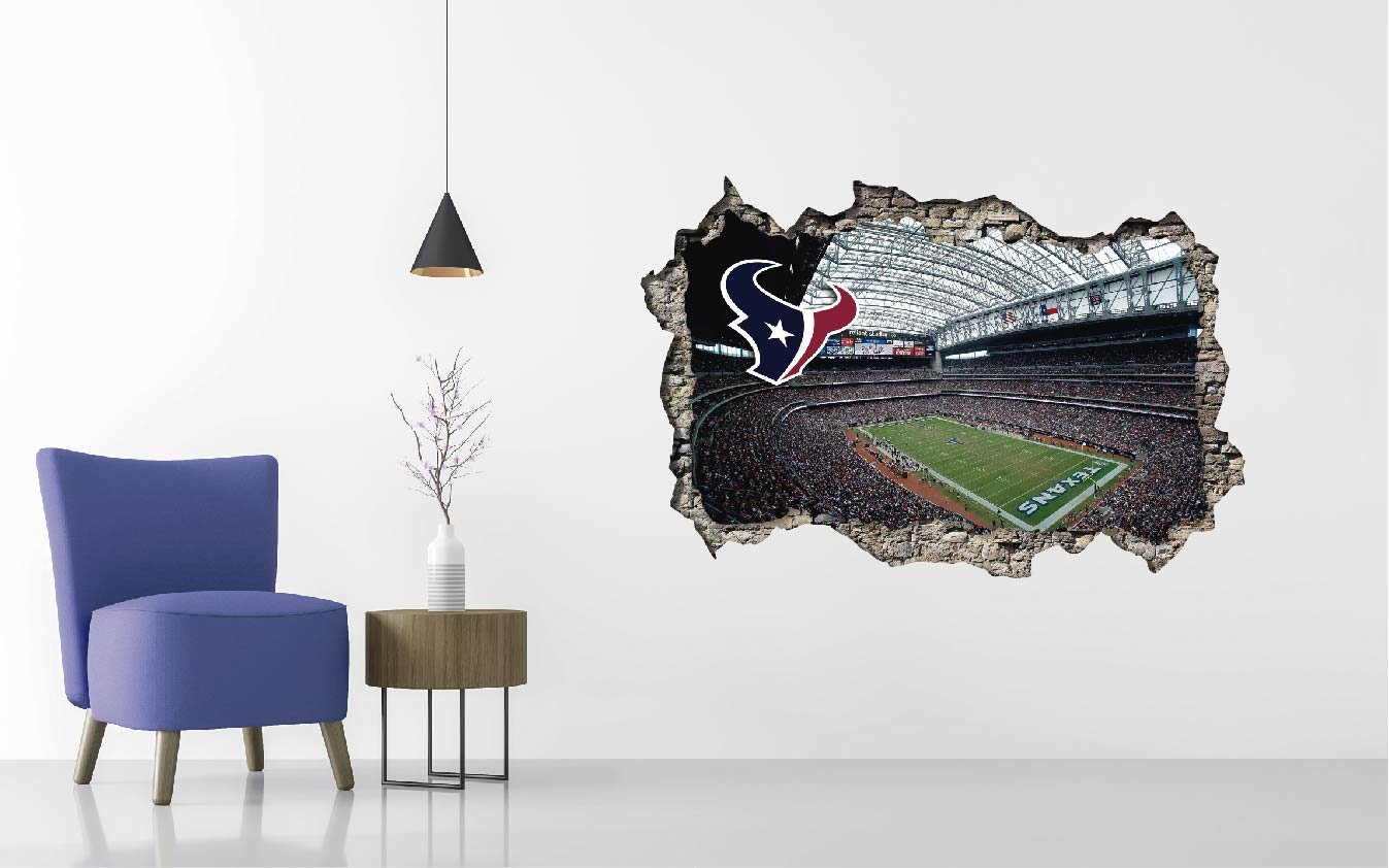 Houston Texans Stadium - Football Stadium 3D Effect - Brake Wall Effect 3D - Wall Decal For Rooms And Living Room