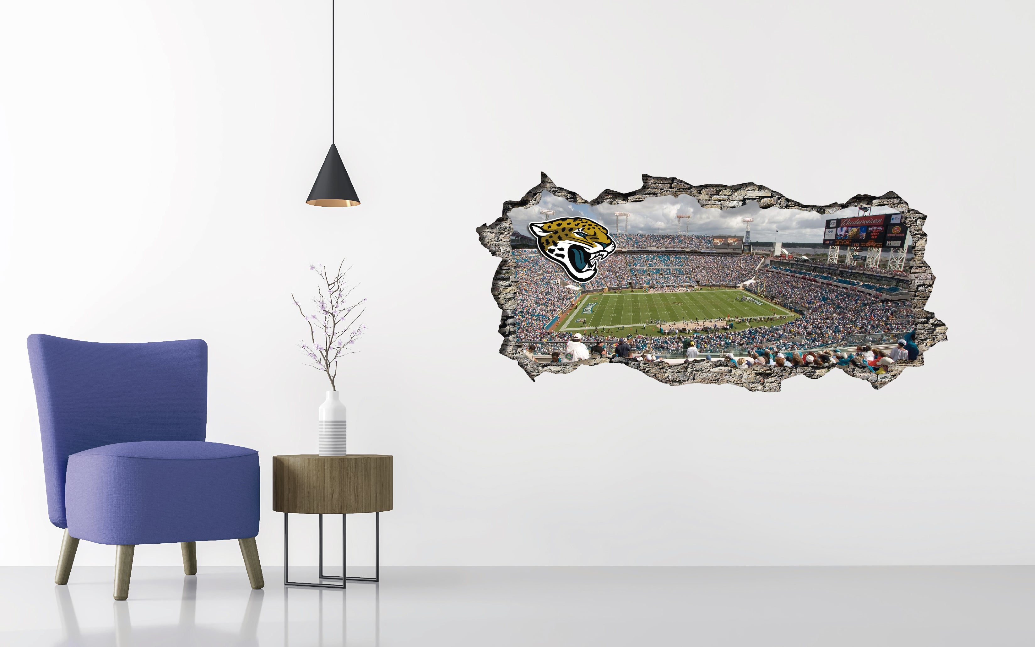Jacksonville Jaguars Stadium - Football Stadium 3D Effect - Brake Wall Effect 3D - Wall Decal For Rooms And Living Room