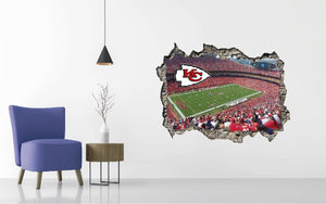 Kansas City Chiefs Stadium - Football Stadium 3D Effect - Brake Wall Effect 3D - Wall Decal For Rooms And Living Room