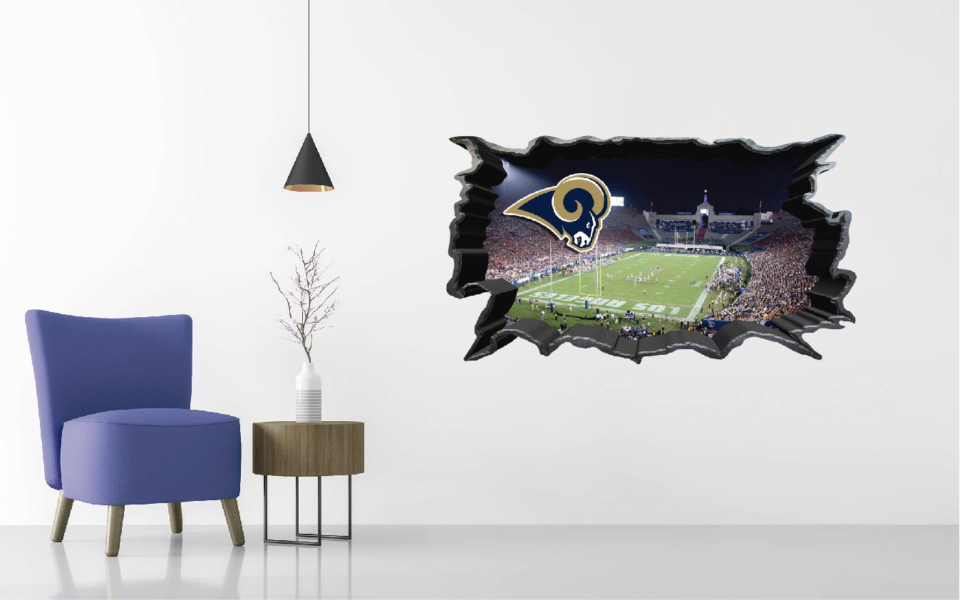 Los Angeles Rams Stadium - Football Stadium 3D Effect - Brake Wall Effect 3D - Wall Decal For Rooms And Living Room