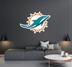 Miami Dolphins - NFL Football Team Logo - Wall Decal Removable & Reusable For Home Bedroom
