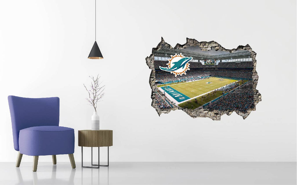 Miami Dolphins Stadium - Football Stadium 3D Effect - Brake Wall Effect 3D - Wall Decal For Rooms And Living Room