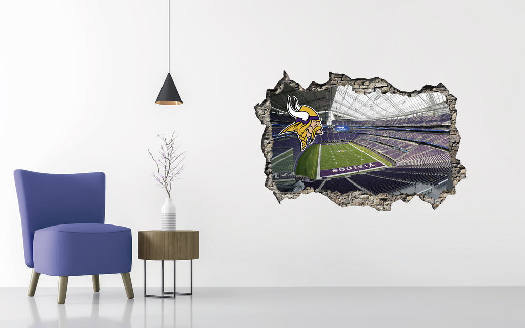 Minnesota Vikings Stadium - Football Stadium 3D Effect - Brake Wall Effect 3D - Wall Decal For Rooms And Living Room
