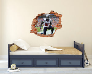 NFL 80 Andres Johnson - Football Houston Texans Player 3D Effect - Brake Wall Effect 3D - Wall Decal For Rooms And Living Room