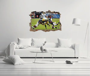 NFL Green Bay Packers vs Chicago Bears - Football Player 3D Effect - Brake Wall Effect 3D - Wall Decal For Rooms And Living Room