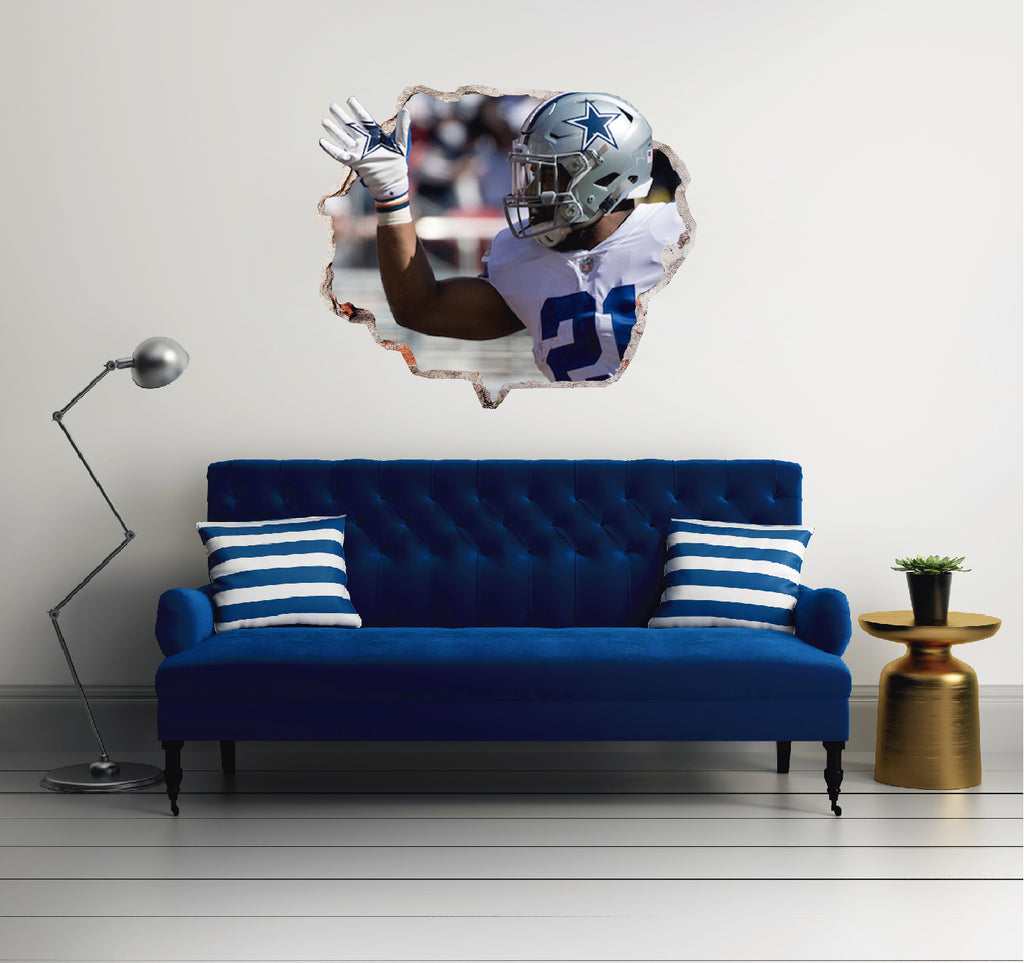 NFL Player 21 Ezekiel Elliott  - Football Player Cowboys Dallas 3D Effect - Brake Wall Effect 3D - Wall Decal For Rooms And Living Room