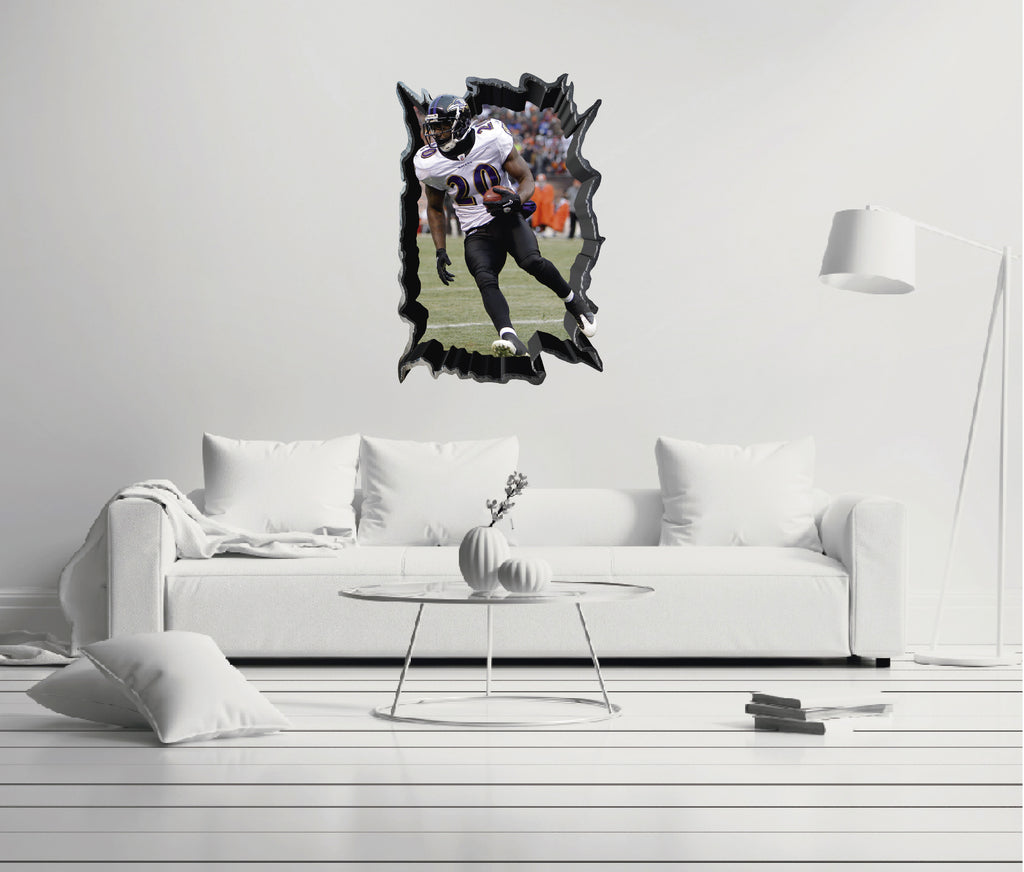 NFL Player 20 Ed Reed - Football Player Baltimore Ravens 3D Effect - Brake Wall Effect 3D - Wall Decal For Rooms And Living Room