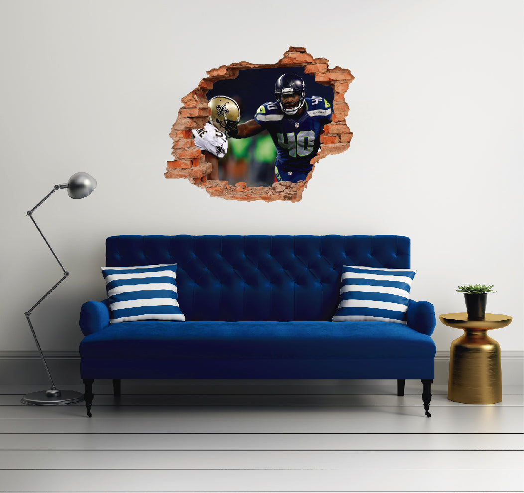 NFL Player 40 Derrick Coleman - Football Player Seattle Seahawks 3D Effect - Brake Wall Effect 3D - Wall Decal For Rooms And Living Room