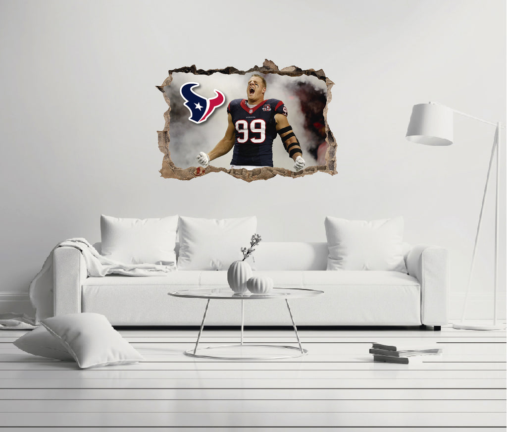 NFL Player 99 J. J. Watt - Football Player Houston Texans 3D Effect - Brake Wall Effect 3D - Wall Decal For Rooms And Living Room