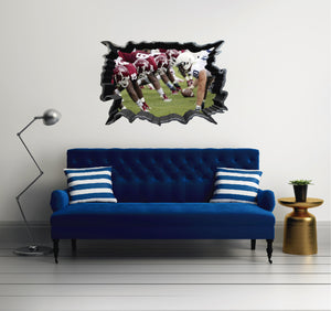 NFL Player 7 - Football Player 3D Effect - Brake Wall Effect 3D - Wall Decal For Rooms And Living Room