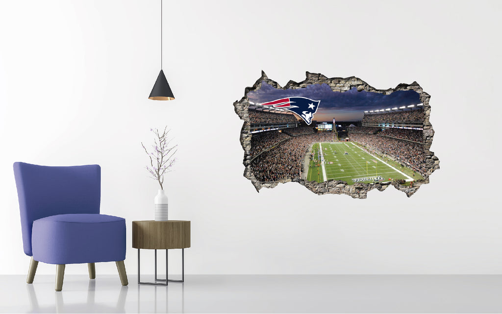 New England Patriots Stadium - Football Stadium 3D Effect - Brake Wall Effect 3D - Wall Decal For Rooms And Living Room
