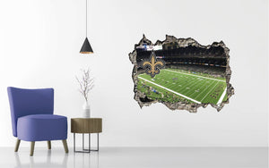 New Orleans Saints Stadium - Football Stadium 3D Effect - Brake Wall Effect 3D - Wall Decal For Rooms And Living Room